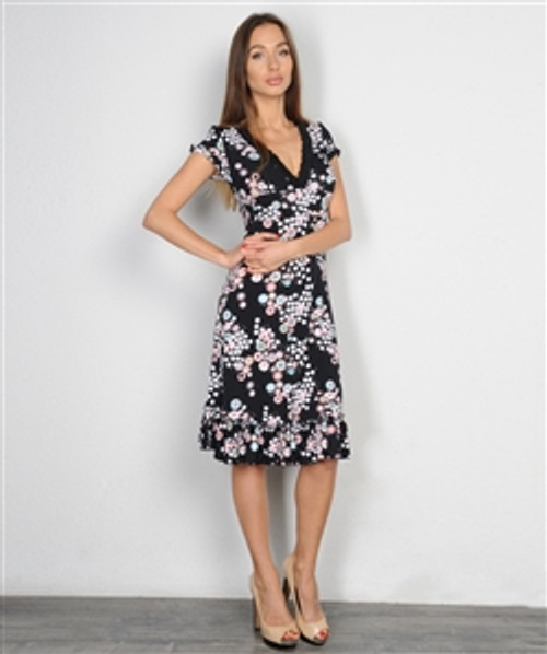 Black Midi Dress with Pink & White Floral!