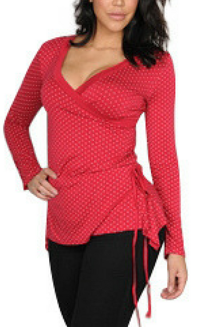 Polka Dot Top with Criss-Cross Front! Red/White.