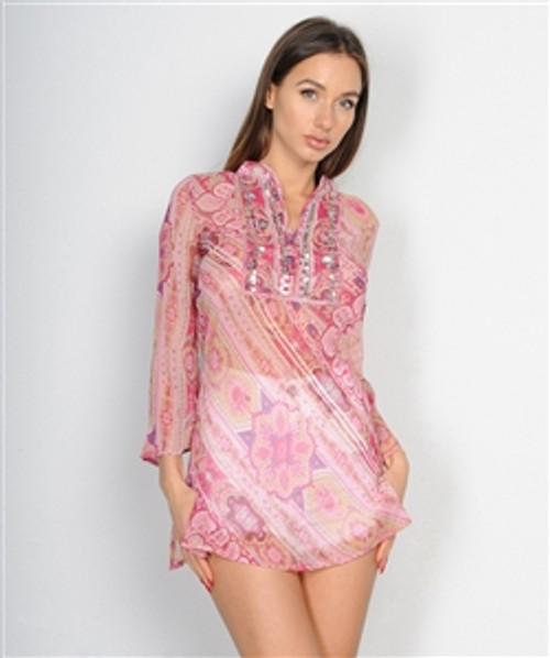 Boho-Chic Tunic with Subtle Sequins. Pink Hippy Paisley.