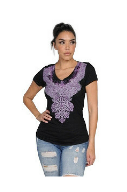 Black Top with Purple Paisley V-Neck is 100% Cotton!
