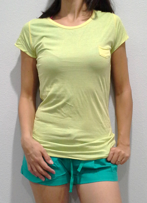 TEE. Extra Long, with Mini Pocket. Green with Teal Interior. 100% Cotton.