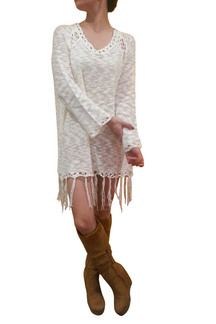 BOHO-CHIC CROCHET LONG SWEATER / SWEATER DRESS WITH TASSELS!  IVORY. ONE SIZE (Up to Size 18).