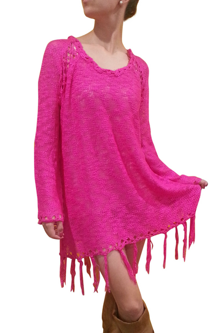 BOHO-CHIC CROCHET LONG SWEATER / SWEATER DRESS WITH TASSELS! FUCHSIA. ONE SIZE (Up to Size 18).