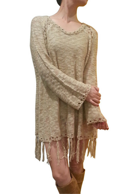 BOHO-CHIC CROCHET LONG SWEATER / SWEATER DRESS WITH TASSELS! CHOCOLATE BROWN. ONE SIZE (Up to Size 18).