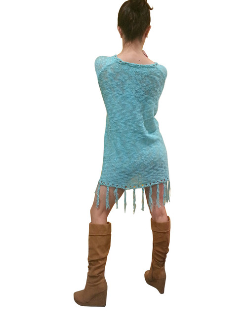 BOHO-CHIC CROCHET LONG SWEATER / SWEATER DRESS WITH TASSELS! SKY BLUE. ONE SIZE (Up to Size 18).