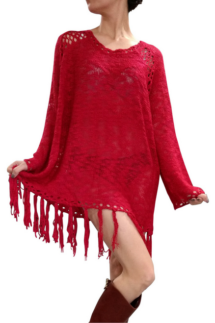 BOHO-CHIC CROCHET LONG SWEATER / SWEATER DRESS WITH TASSELS! Crimson Red. ONE SIZE (Up to Size 18).