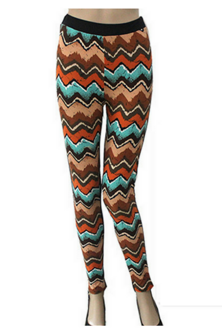 Long Brown Chevron Print Leggings with a Hint of Aztec/Tribal.
