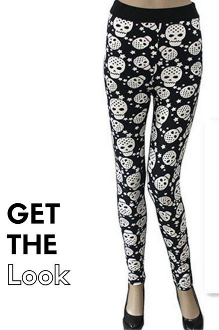 Black & White Skull Leggings with Adorable Back Pockets!
