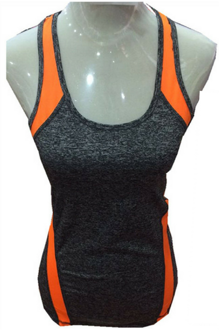 Active Racer Back Tank / Yoga Top! Charcoal with Orange.