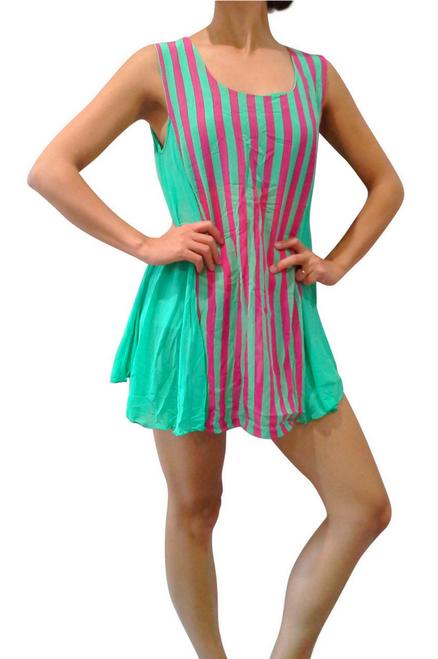 Boho Sleeveless Tunic. Green with Fuchsia Stripes.