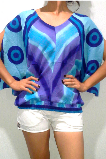 100% Rayon Boho Tie Dye Top with Embroidery! Blue. One-Size (Up to Size 14).