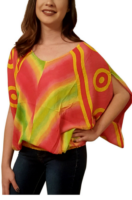 100% Rayon Boho Tie Dye Top with Embroidery! Pink. One-Size (Up to Size 14).