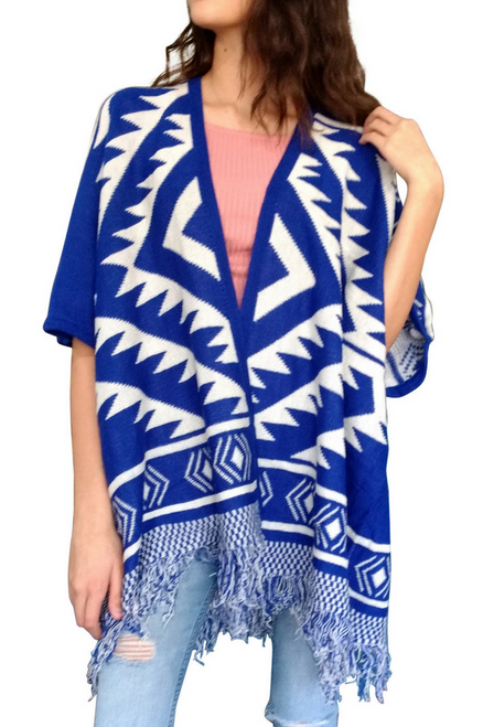 Boutique Tassel Sweater can be Worn as a Ponco or Cardigan! Blue Aztec/Tribal.