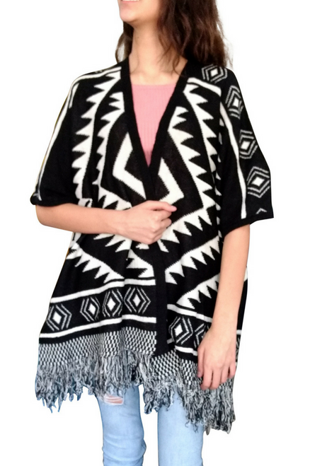Boutique Tassel Sweater can be Worn as a Ponco or Cardigan! Black Aztec/Tribal.