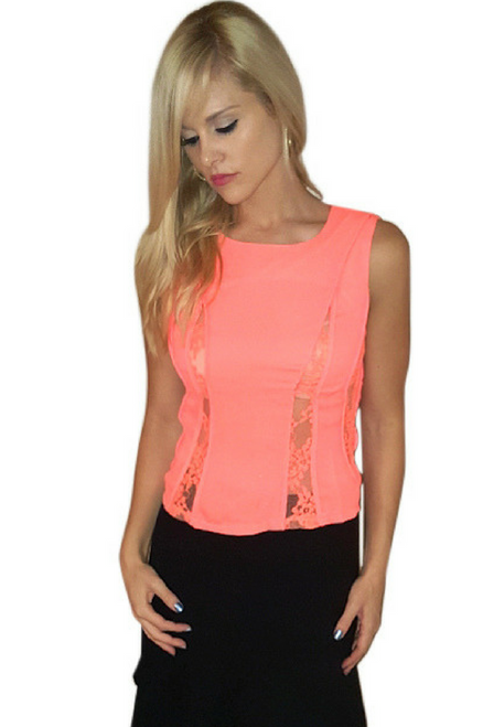 Corset Top with Lace Accents! Orange Coral.