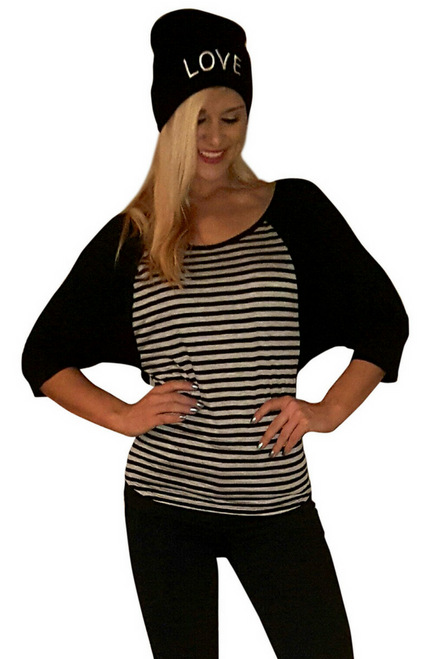 Combo Raglan Black Striped Top With Beanie Hat: HOPE!