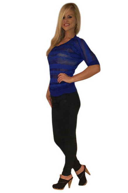 Major Name Brand Top in Cobalt Blue with Sheer Accenting!