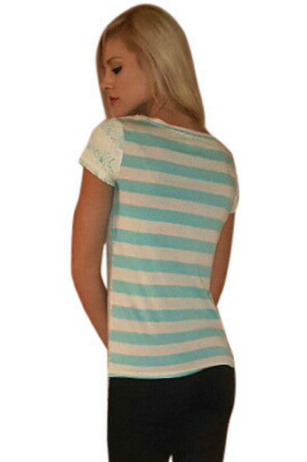 Short Sleeve Lace Top with Cream & Teal Stripes.