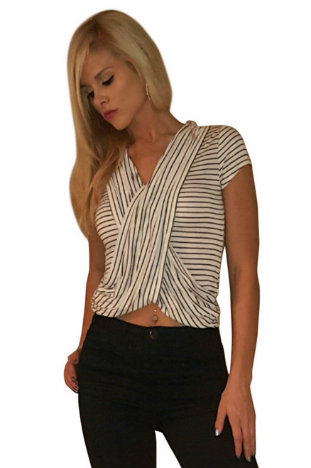 Black and White Pinstripe V-Neck Top!