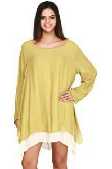Mustard Cotton Asymmetrical Boho Dress with Full Lining! One Size Fits Most.