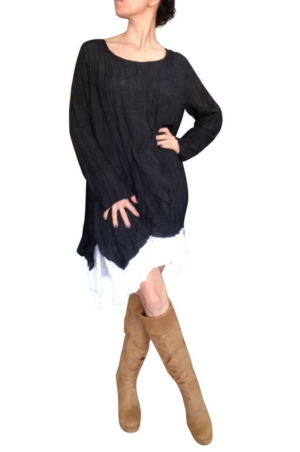 Black Cotton Asymmetrical Boho Dress with Full Lining! One Size Fits Most.