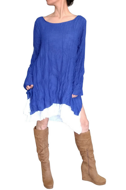 Blue Cotton Asymmetrical Boho Dress with Full Lining! One Size Fits Most.