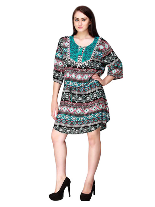 Turquoise Aztec Peasant Dress with Boho Tassels! One Size Fits Most.