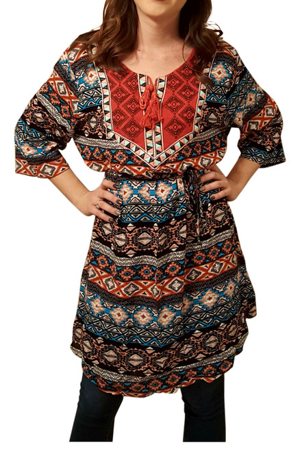 Burnt Orange Aztec Peasant Dress with Boho Tassels! One Size Fits Most.