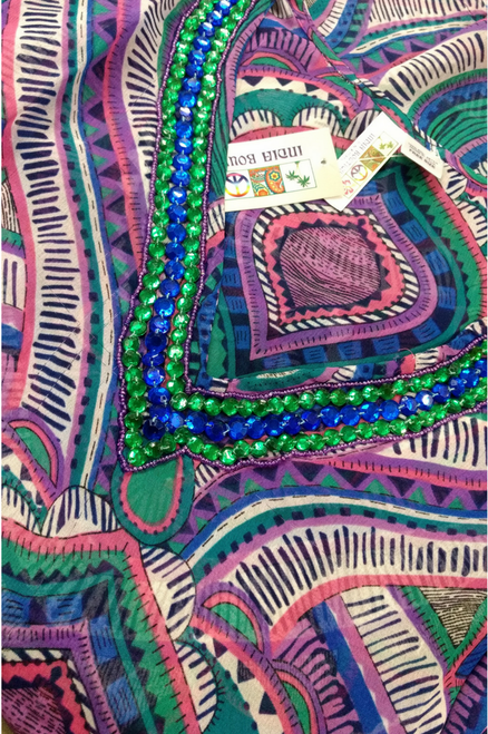 Boho Retro Tunic with Beaded Jeweled Neckline!