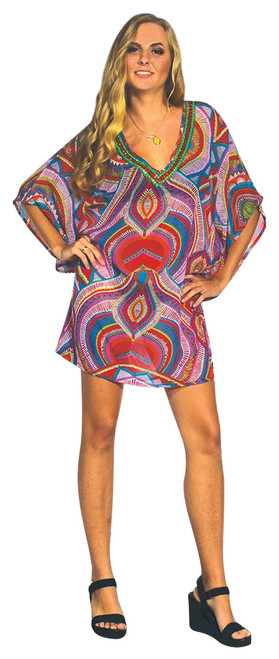 Boho Retro Tunic with Beaded Jeweled Neckline!