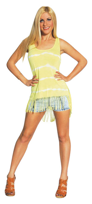 Boho Tie Dye Tank Top with Hanging Tassels! Yellow. One Size Fits Most.