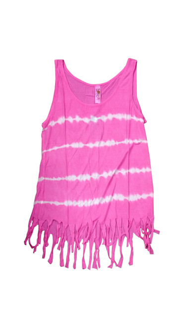 Boho Tie Dye Tank Top with Hanging Tassels! Pink. One Size Fits Most.