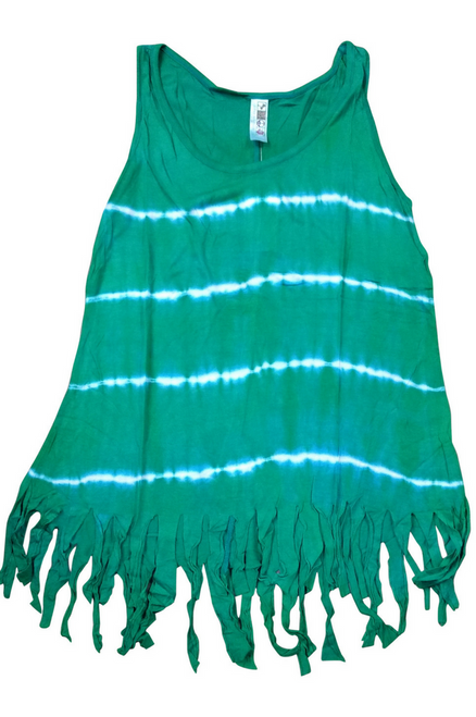 Boho Tie Dye Tank Top with Hanging Tassels! Forest Green. One Size Fits Most.