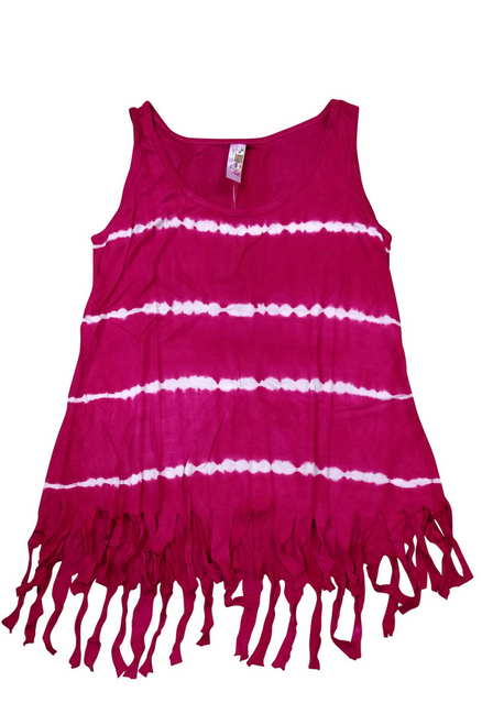 Boho Tie Dye Tank Top with Hanging Tassels! Fuchsia. One Size Fits Most.