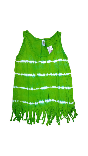 Boho Tie Dye Tank Top with Hanging Tassels! Green. One Size Fits Most.