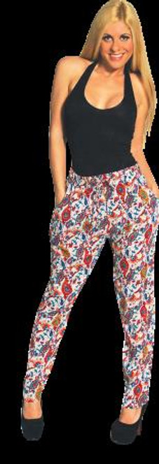 100% Rayon Tapered Leg Harem Pants in Pink Paisley! One Size Fits Most.