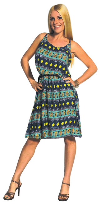 100% Rayon Spaghetti Dress in Green Paisley! One Size Fits Most.