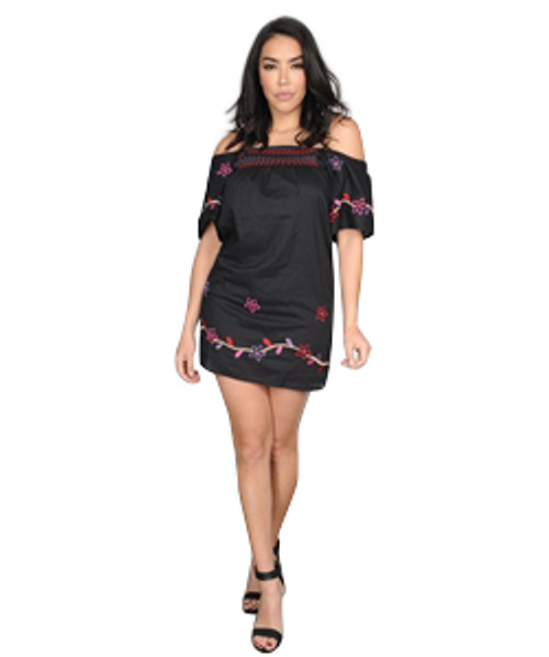 100% Cotton Embroidered Black Dress can be Off the Shoulder.