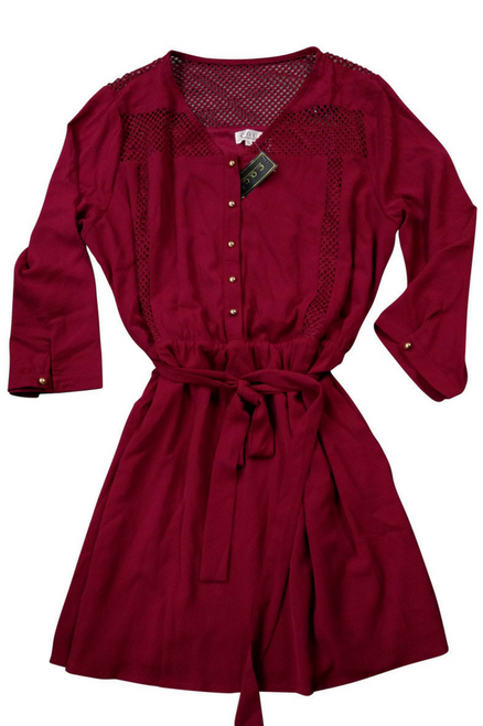 PLUS SIZE Classic Belted Burgundy Dress with Crochet!