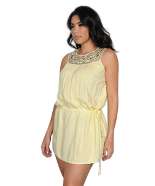 100% Cotton Romper-Like Tunic with Floral Lace Neckline.