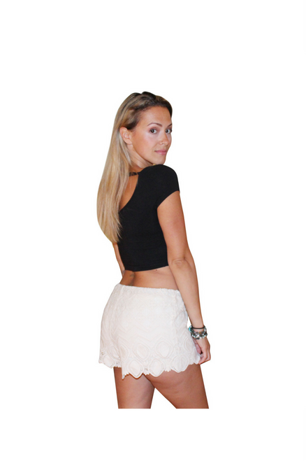 Plus Size White Lace Challis Shorts!