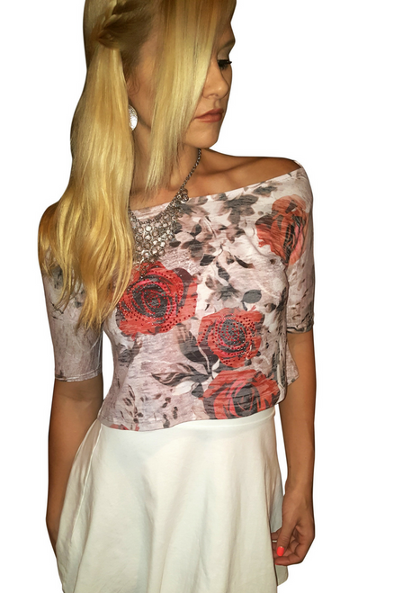 Boutique Top with Roses with Stones is 50% Cotton.