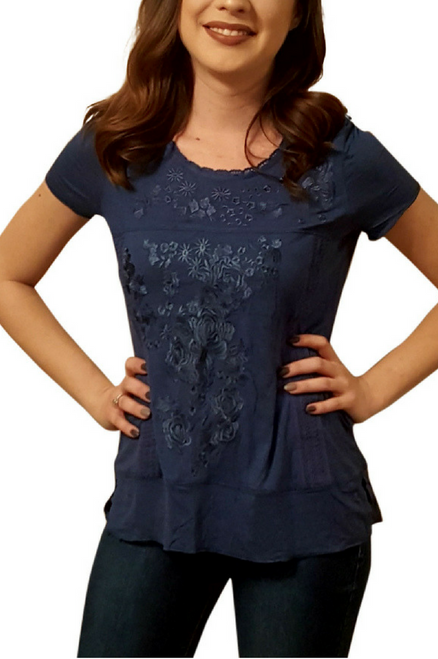 Navy Boho Boutique Peasant Top with Crochet & Embroidery.