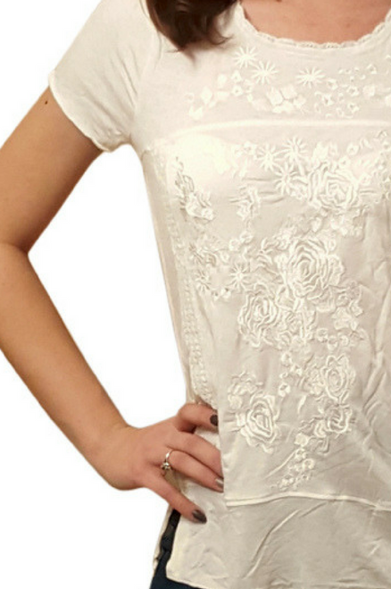 Ivory Boho Boutique Peasant Top with Crochet & Embroidery.