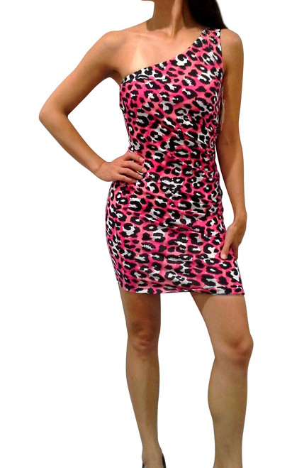 Pink Leopard Off-the-Shoulder Bodycon Dress with Studs.