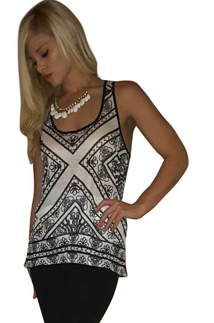 Boutique Tank Top in Charcoal Paisley!