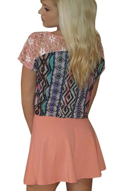 Coral & Blue Rayon Top with Aztec Pattern & Lace Shoulders! Boutique Brand: PAPER CRANE!