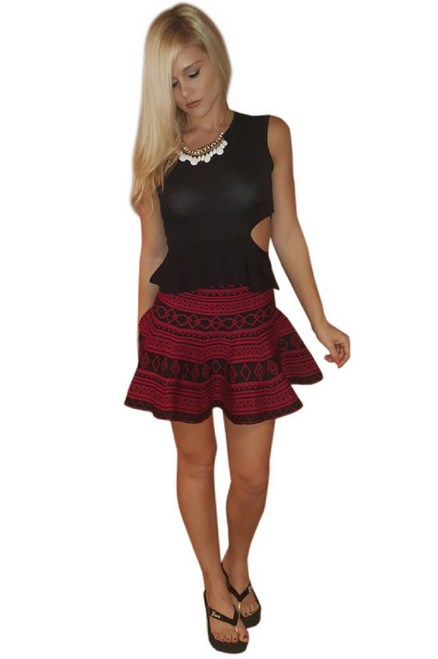 Burgundy & Black Aztec Flare Skirt with Zipper Back!