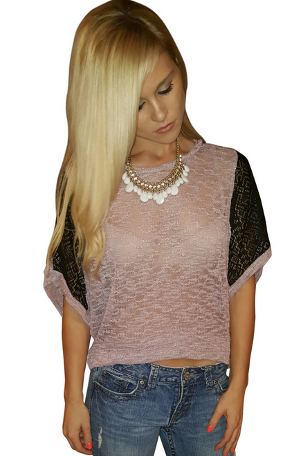 Lightweight Blush Top with Hint of Lavender & Black Accent Sleeves.