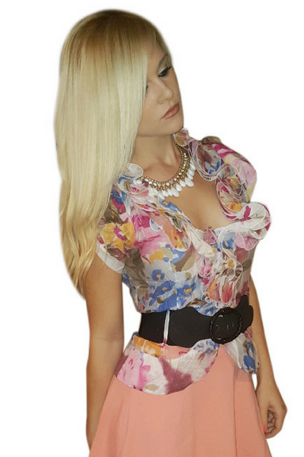 65% Cotton. Lightweight Pink One-Button Top comes with the Belt!